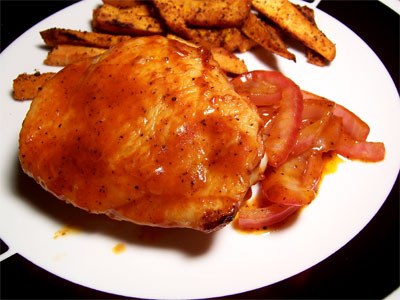Oven barbequed chicken thigh