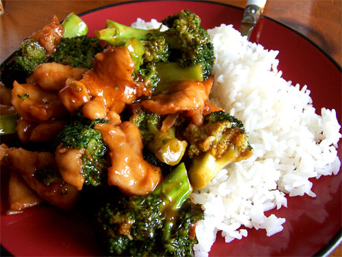 Chinese Takeout: Chicken with Broccoli and Steamed White Rice