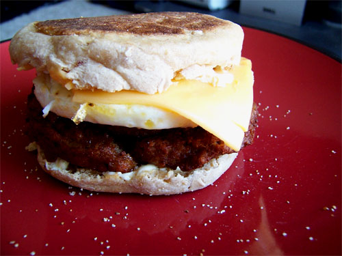 Homemade Vegetarian Sausage, Egg, and Cheese Muffin