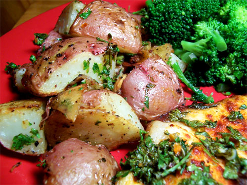 Roasted red potatoes with garlic.