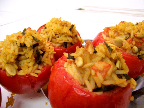 Tomatoes Stuffed with Brown Rice, Pine Nuts, and Basil