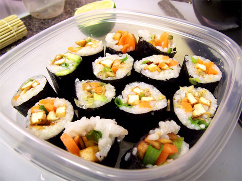Homemade Sushi with Sauteed Tofu, Avocado, Carrots, and Green Onion