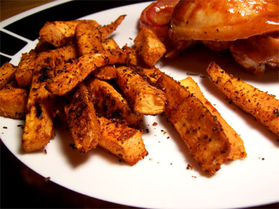Spicy oven-baked sweet potato fries.
