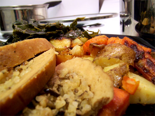 Tofurky with Roasted Vegetables and Collard Greens