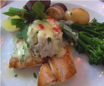 Mahi-mahi with Crab, Hollandaise Sauce, Broccolini, and Baby Potatoes