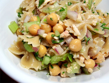 "I'm calling it ""Cool Pasta Salad with Lime, Salmon, and Chickpeas"