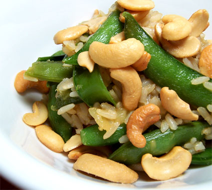 Brown Rice with Sugar Snap Peas, Roasted Cashews, and Pineapple Teriyaki Sauce