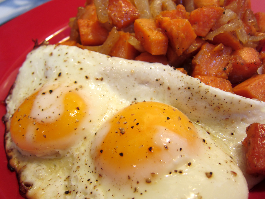Fried Eggs and Sweet Potato Hash (click for larger image)