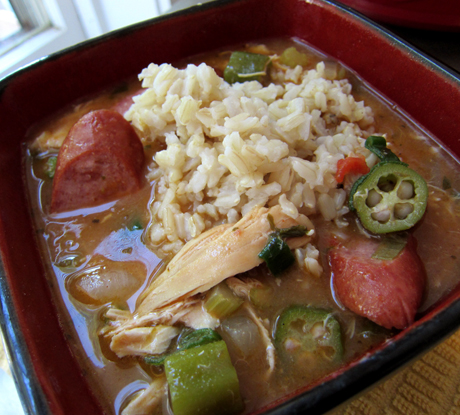 Chicken and Sausage Gumbo with Brown Rice
