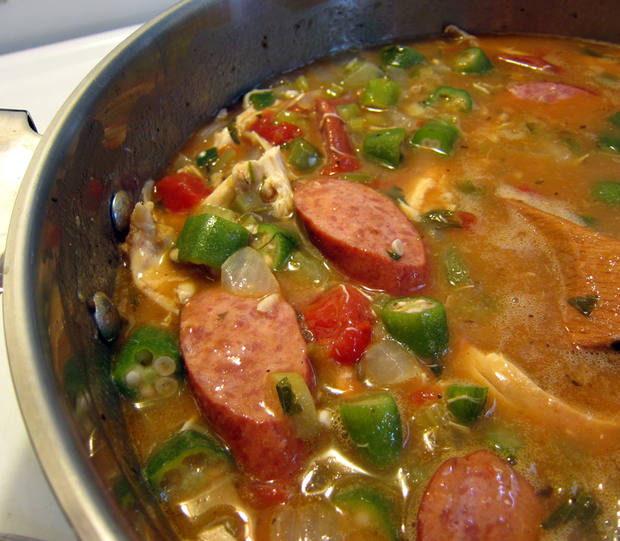 Chicken and Sausage Gumbo, Simmering Away (click for larger image)
